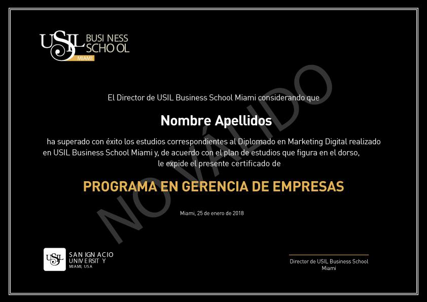 Diploma Programa Online Gestion Empresarial